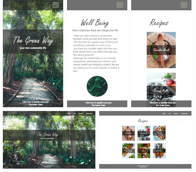 mockups for the mobile and web version of The Green Way web-page